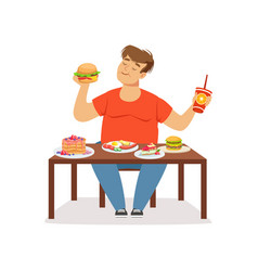 Fat obese man eating fast food bad habit vector