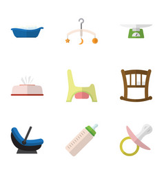 Flat icon baby set of tissue pram mobile and vector