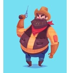 Funny of cowboy cartoon character vector