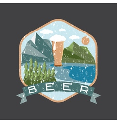 Grunge label of beer glass with mountains vector