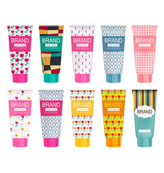 hand care cream bottle collection set tube vector image