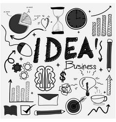 hand drawn doodle business idea set vector image