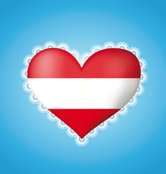 Heart shape flag of Austria vector image vector image