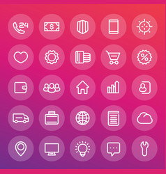 Icons for web design in line style vector