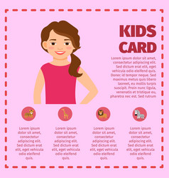 infographic with girl and zoo animals vector image vector image