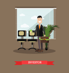 investor concept in flat style vector image vector image