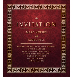 invitation with damask pattern vector image vector image