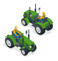 Isometric tractor works in a field agriculture vector