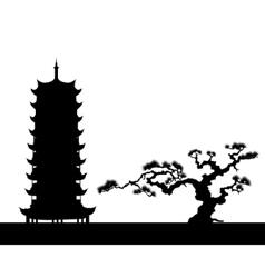 japanese landscape silhouette vector image