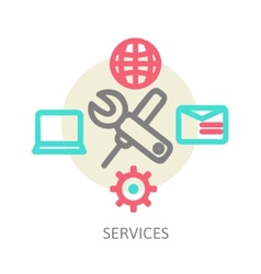line design concept icons for web services vector image