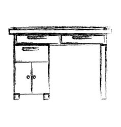 monochrome blurred silhouette of wooden home desk vector image vector image