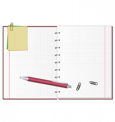 open notebook with a pen vector image vector image