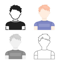 Redhead boy icon cartoon single avatarpeaople vector