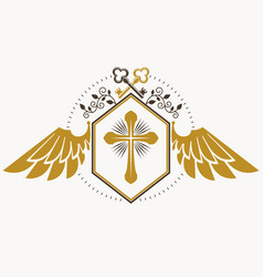 Retro insignia design decorated with eagle wings vector