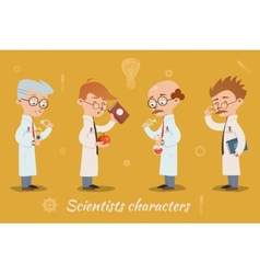 Set of four scientist characters vector