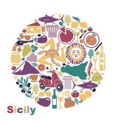 Set of icons on a theme of sicily in the form of a vector