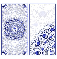 Set of invitations cards with a beautiful pattern vector image