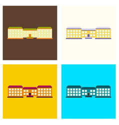 set of isolated city buildings icon public vector image