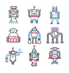 set of robots for different tasks vector image vector image