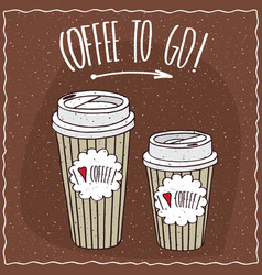 set of two different sizes paper cups of coffee vector image