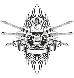 Skull crossed guitars and pattern vector