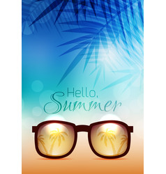 summer poster with sunglasses palms and vector image