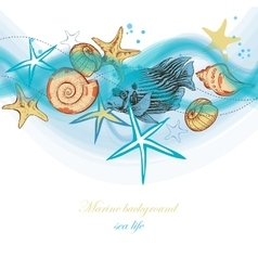 Summer sea waves and marine life holiday beach vector