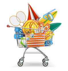Supermarket cart with beach accessories vector