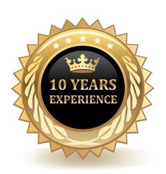 Ten Years Experience Badge vector image vector image