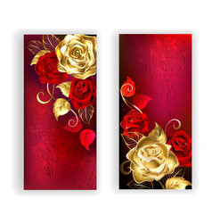 Two Red Banners with Gold Roses vector image