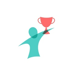 Winner with the cup icon Logo design vector image vector image