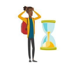 Worried african traveler man looking at hourglass vector