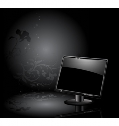 Lcd panel with floral background vector