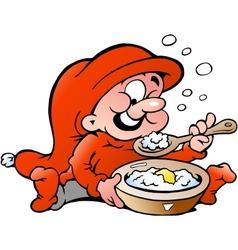 Hand-drawn of elf eating porridge vector