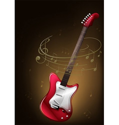 A red guitar with musical notes vector image