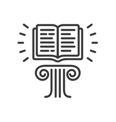 Flying book - modern single line icon vector