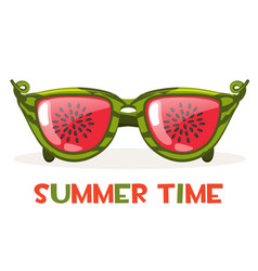 Watermelon glasses hello summer time vector