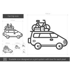 Car trip line icon vector