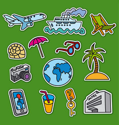 Set stickers for tourism and travel services vector