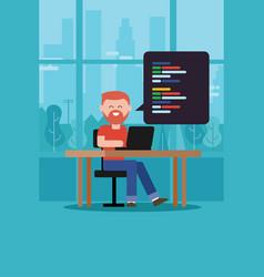 Coding programming script man with beard t-shirt vector