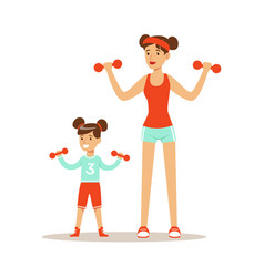 Smiling woman and girl exercising with dumbells vector