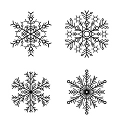 Snowflake icons set on white background vector