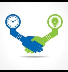 handshake between men having idea and time vector image