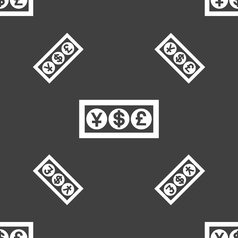 Cash currency icon sign seamless pattern on a gray vector