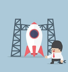 Rocket startup businessman build space shuttle vector