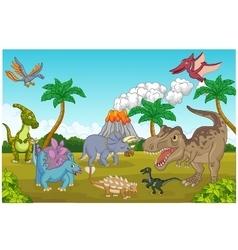 Cute dinosaur happy vector image