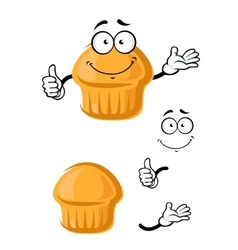 Cartoon sweet muffin with thumb up vector