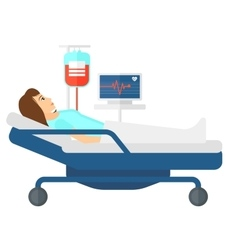 Patient lying in bed vector