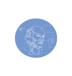 Robot head technical drawing vector