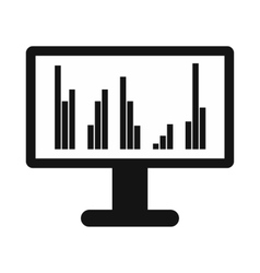 Computer screen with business graph icon vector